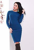 S-L / В'язаний жіночий костюм-двійка Jastin, синій