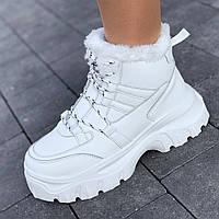 Кроссовки женские белые зимние на толстой подошве, спортивные ботинки (Код: Т1588)
