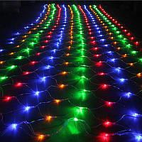🔥 Гирлянда Сетка LED 120 лампочек Мульти, 150х150 см, прозрачный провод, переходник (1-49, 1590-01)