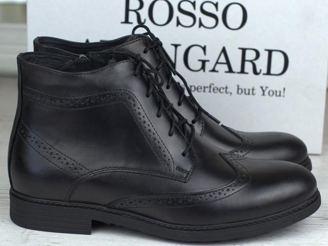 Зимние ботинки ручной работы индивидуальная пошита обувь для мужчин из натуральной кожи Hand Made by Rosso