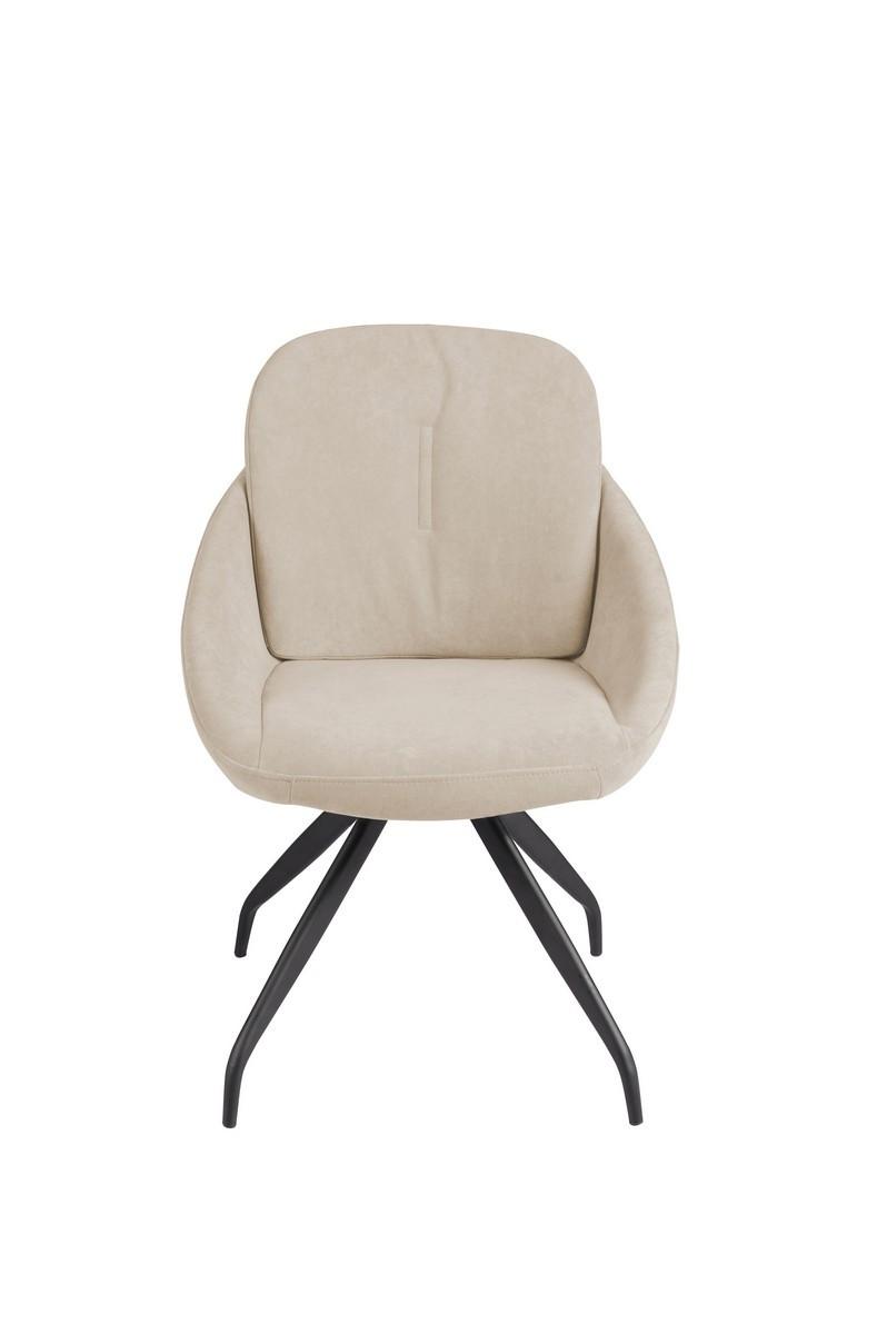 Поворотный обеденный стул R-65 молочный флок от Vetro Mebel