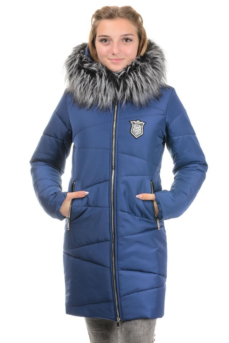Зимнее подростковое пальто с капюшоном темно-синий