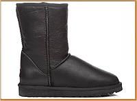 Женские угги UGG Australia Classic Short Leather Bomber Black (уги классик Австралия, черные) натуральная кожа