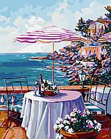 """Картина за номерами """"Кафе біля моря"""" 40*50см"""