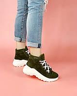 Ботинки женские замшевые спортивные цвета хаки на шнурках MORENTO (зима)
