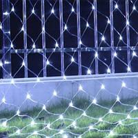 Гирлянда Сетка LED 120 лампочек Белая, 150х150 см, прозрачный провод, переходник (1590-03)