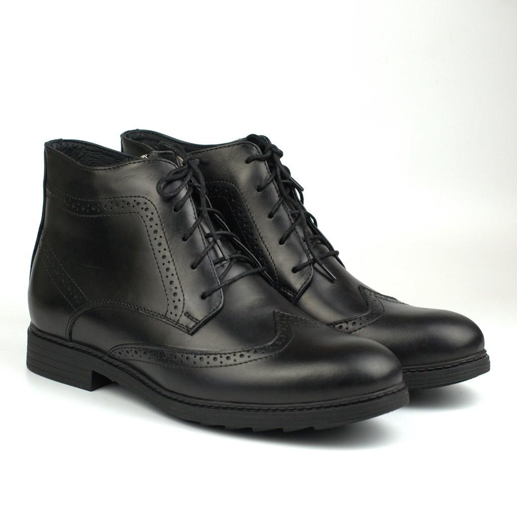 Большой размер зимние ботинки броги черные кожаные на овчине Rosso Avangard Winter Brogues Black Leather BS