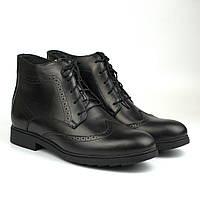 Большой размер зимние ботинки броги черные кожаные на овчине Rosso Avangard Winter Brogues Black Leather BS, фото 1