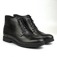 Великий розмір зимові черевики броги чорні шкіряні на овчині Rosso Avangard Winter Brogues Black Leather BS