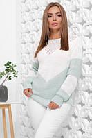 Женский вязаный стильный свитер белый с мятным с круглым вырезом размер 46-52