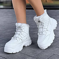 Кроссовки женские белые зимние на толстой подошве, спортивные ботинки (Код: Т1588а)