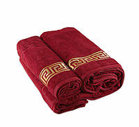 Полотенце махровое велюр 50х90 Турция - Versace красное