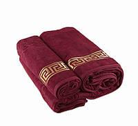 Полотенце махровое велюр 50х90 Турция - Versace бордо