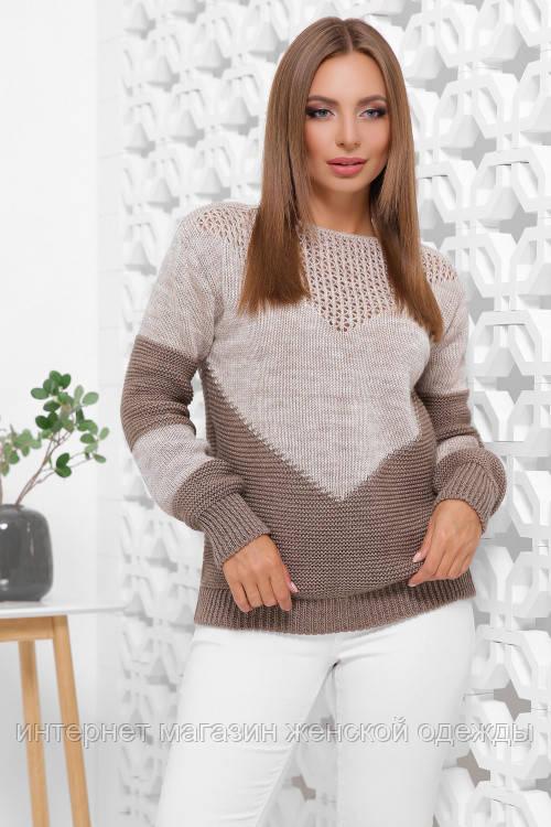 Женский вязаный стильный свитер с круглым вырезом размер 46-52 капучино