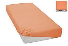 Трикотажная простынь на резинке  Оранжевая