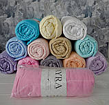 Трикотажная простынь на резинке в кроватку размер спального места 60*120 см Голубой цвет бренд KAYRA, фото 2