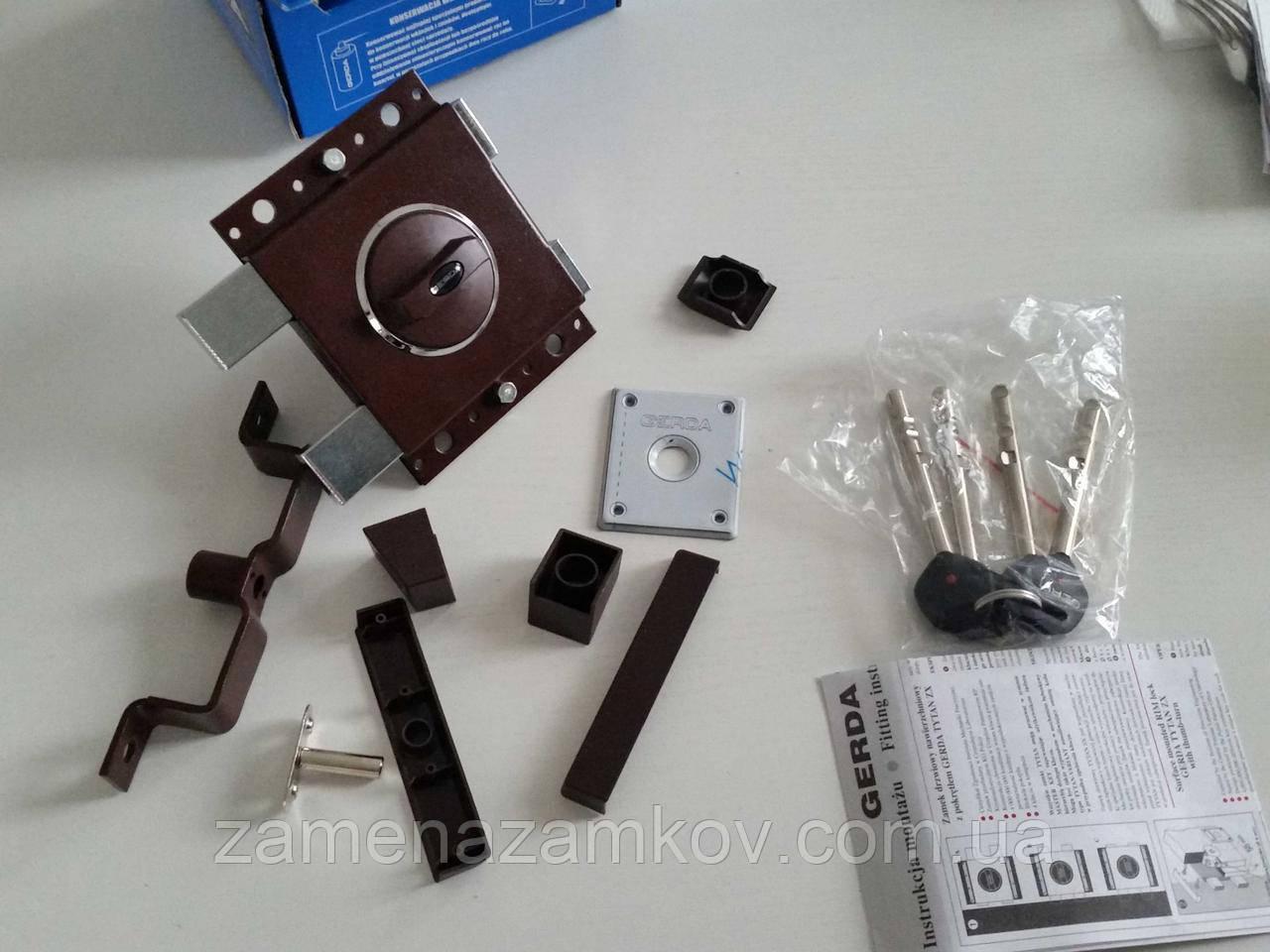 Замок накладной Gerda Tytan ZX GT8 коричневый длинные ключи (Польша)
