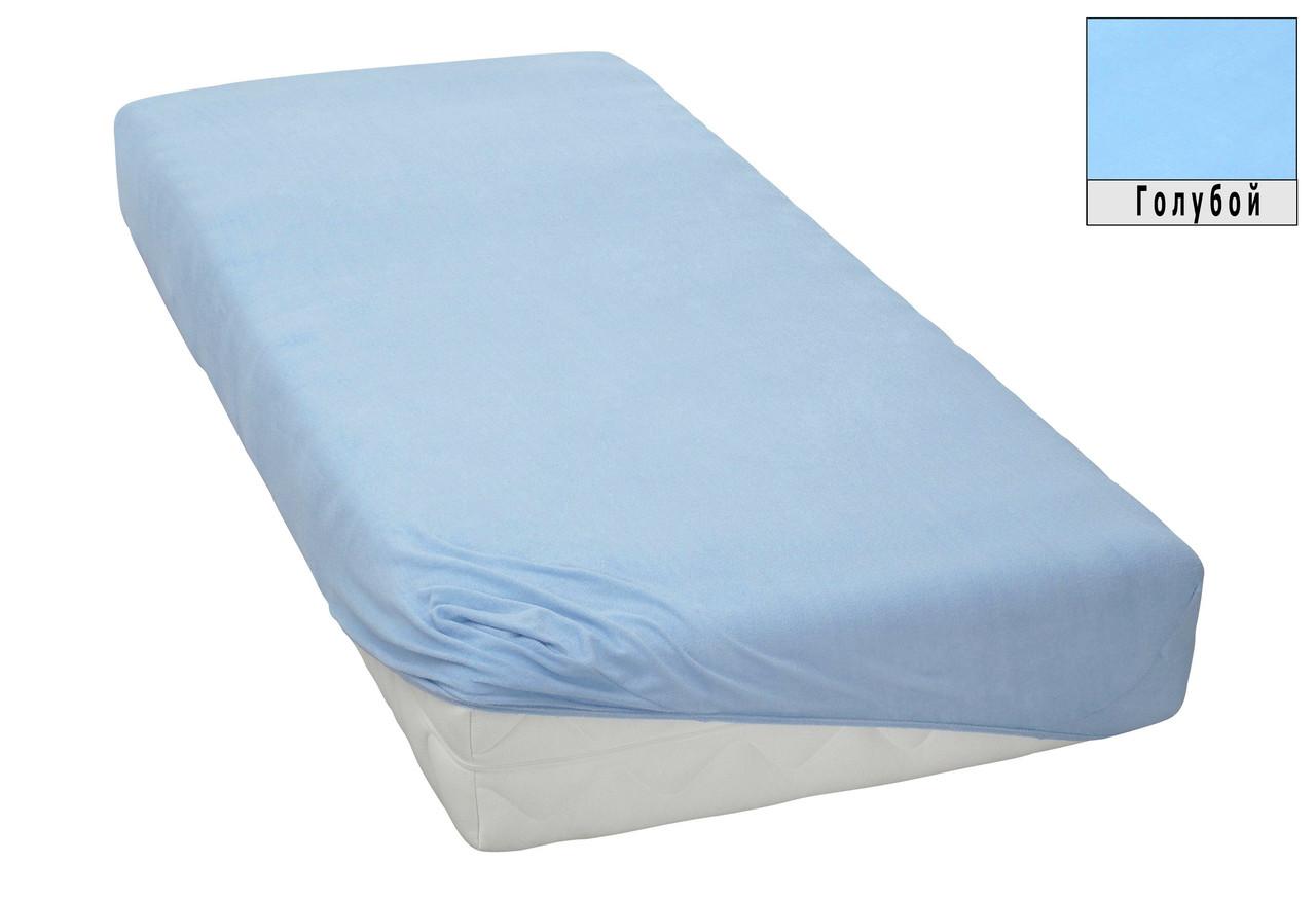 Трикотажная простынь на резинке в кроватку размер спального места 60*120 см Голубой цвет бренд KAYRA