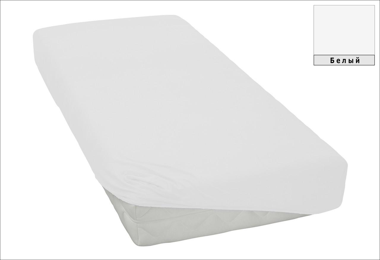 Трикотажная простынь на резинке Белая