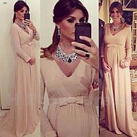 Платье женское длинное  для беременных с длинным рукавом
