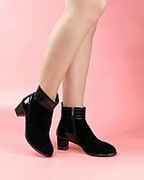 Женские ботинки A005-4199/0 MORENTO (черные, натуральная замша, лак, байка, весна/осень)