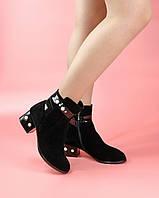 Женские ботинки A005-4177-1/0 MORENTO (черные, натуральная замша, лак, байка, весна/осень)