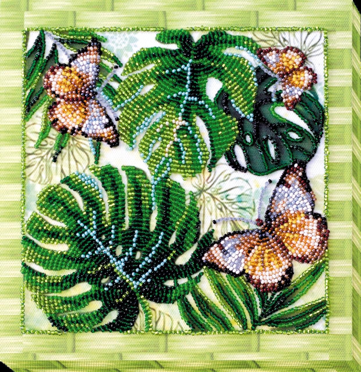 Набор-миди для вышивки бисером Монстера (20 х 20 см) Абрис Арт AMB-028