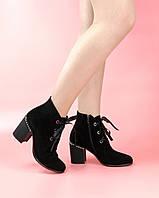 Женские ботинки 615-1-6135/0 MORENTO (черные, нат. замша, байка, весна/осень)