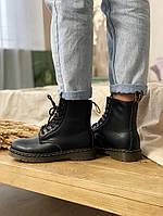 Женские зимние ботинки Dr.Martens (МЕХ), черные зимние мартенсы (Реплика ААА), фото 1