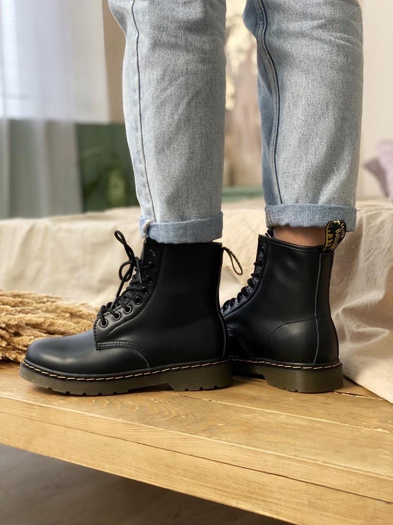 Женские зимние ботинки Dr.Martens (МЕХ), черные зимние мартенсы (Реплика ААА)