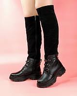 Женские сапоги SO-135 MORENTO (черные, натуральная замша, натуральная кожа. шерсть, зима)