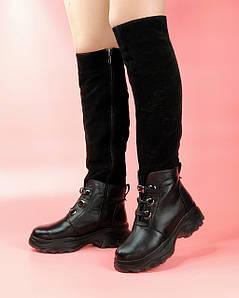 Чоботи жіночі замшеві чорні з шкіряними вставками на спортивній підошві MORENTO зима