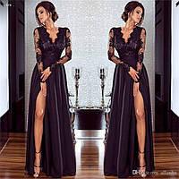 Платье женское длинное с кружевом и разрезом на колене