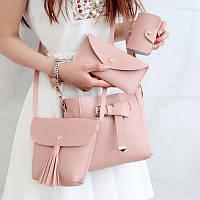 Женский набор, сет сумок 4в1 (сумка, клатч, кошелек, визитница) стильный  в розовом цвете, фото 1