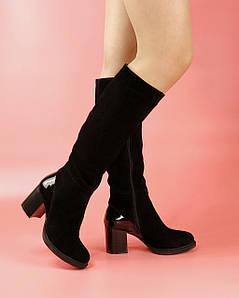 Жіночі чоботи 6055-621 MORENTO (чорні, натуральна замша, лак, нат.вовна, зима)