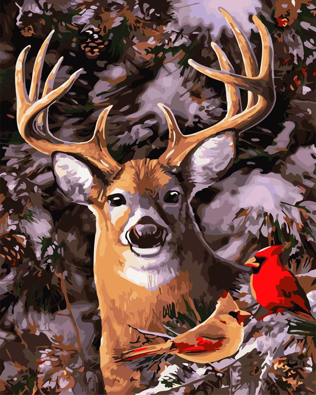 """Картина по номерам """"В зимнем лесу"""" 40*50см"""