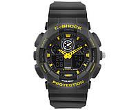 Часы наручные C-SHOCK GA-100 Black-Yellow, подсветка