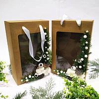 Новорічна коробка + пакет з декором 350х210х100 мм., фото 1