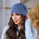 Женская зимняя теплая шапка пряжа, фото 6