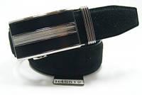 Ремень мужской замшевый с пряжкой автомат (черный) ALON, фото 1