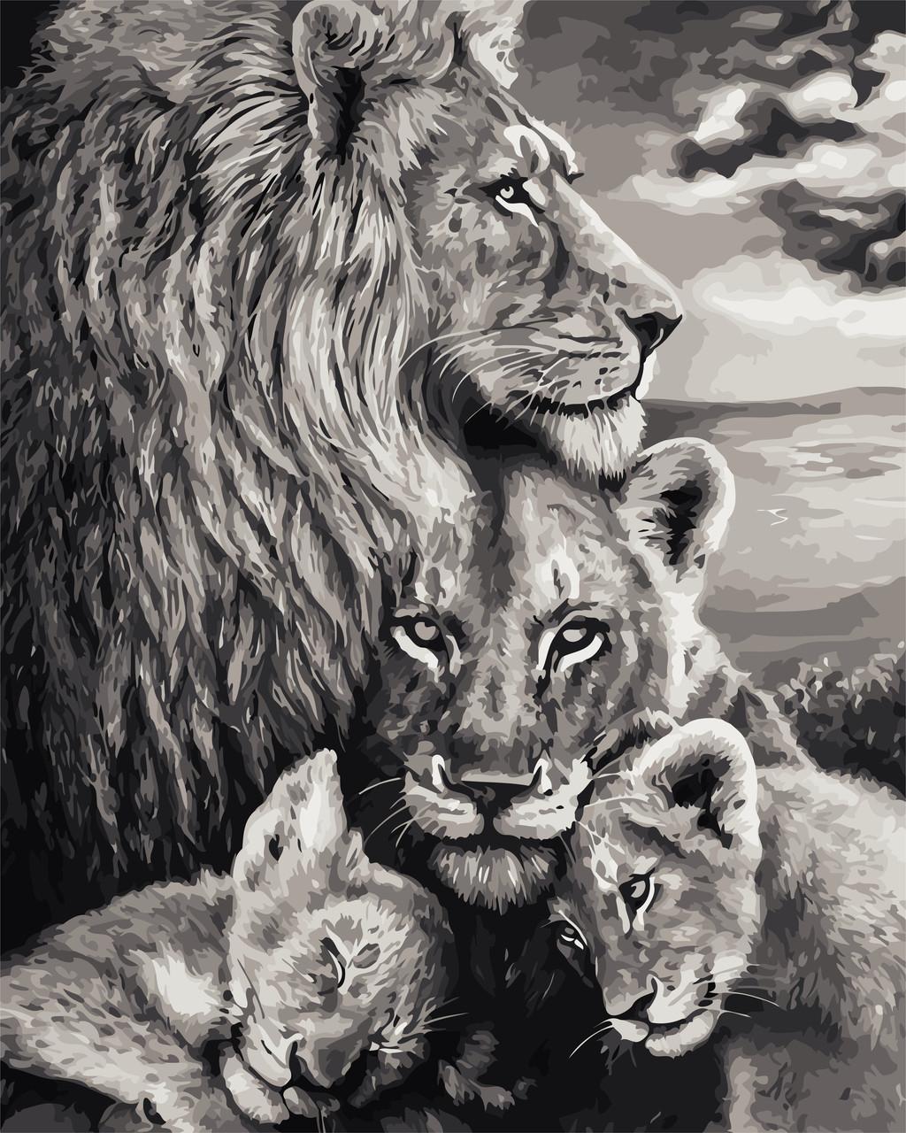 """Картина по номерам """"Преданность львов"""" 40*50см"""