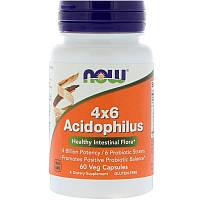 """Ацидофилус NOW Foods """"4x6 Acidophilus"""" 4 миллиарда полезных бактерий и 6 пробиотических штаммов (60 капсул)"""