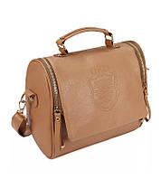 """Модная женская сумка с ручкой и через плечо стильная """"Vintage"""" с гербом (бежевый)"""