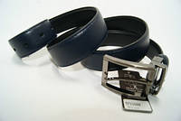 Ремень мужской кожаный двухсторонний (черно-синий) ALON, фото 1