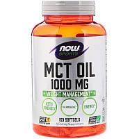 """Масло МСТ, NOW Foods, Sports """"MCT Oil"""" для контроля и снижения веса, 1000 мг (150 гелевых капсул)"""