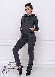 Темно-сірий теплий жіночий костюм двійка