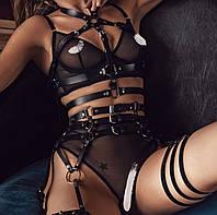 Комплект портупей верх и низ кожа пояс из кожи гартеры бдсм атрибутика портупея на грудь женская
