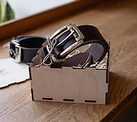 Мужской ремень из итальянской ременной кожи_коричневый ремень для  джинс