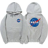 """Толстовка Худи  NASA серое с логотипом, унисекс (мужская,женская,детская)"""" ТОП Реплика"""""""