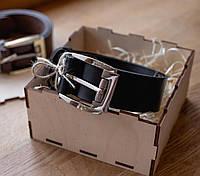 Мужской ремень из итальянской ременной кожи_черный кожаный ремень для джинс